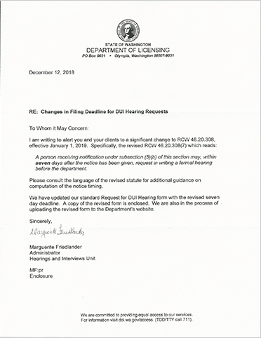 Letter from the DoL citing change of 7 days to request a hearing